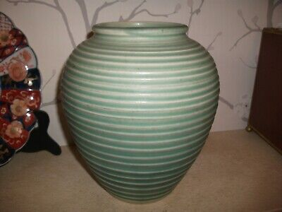 VINTAGE Lovatts Pottery Vase Green Ribbed Large 8.5  HIGH MARKED TO BASE 20/30s • 7.99£