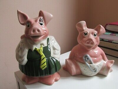 Natwest Wade Pig Piggy Bank, Annabel, And Baby Woody Both WITH Stoppers  • 3.20£