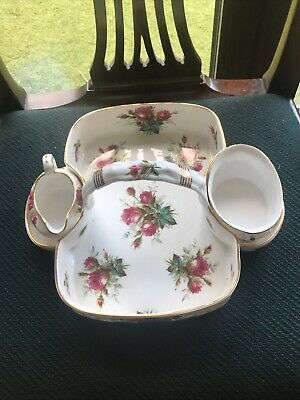 Hammersley Grandmother Rose Strawberry Dish With Separate Creamer And Sugar • 14£