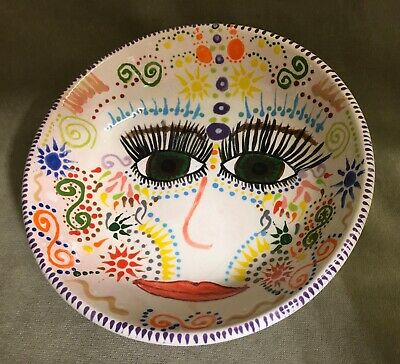 Italy Pottery Face Art Plate- Bowl • 14.99£