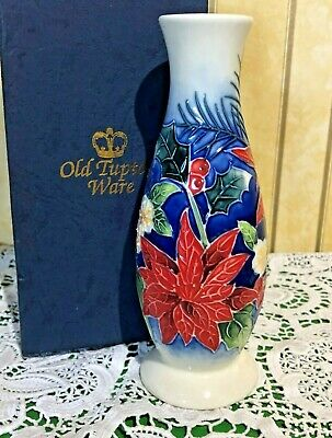 Old Tupton Ware Bud Vase Poinsettia Flowers Tube Lined British Perfect Boxed • 14.99£