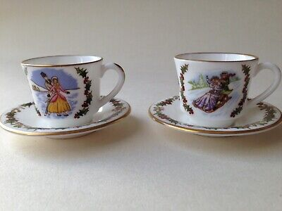2 Royal Worcester Miniature Christmas Cups And Saucers 1982 & 1983 • 8.99£