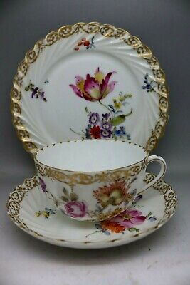 Antique Dresden Porcelain Trio Cup And Saucer Hand Painted Floral Plate • 2.09£