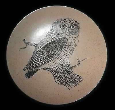 Vintage Purbeck Pottery Large Stoneware Bowl Owl Design Excellent Condition • 6.99£
