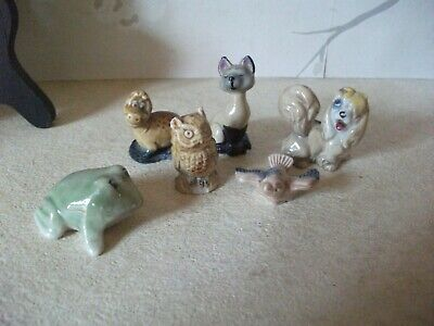 6 Vintage Wade Whimsies Rare Frog, Disney Cat And Dog, Dinasaur Owl & Bluebird • 7.99£