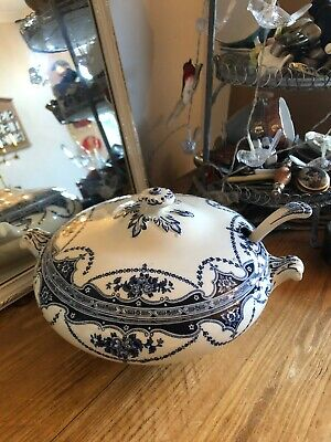 Antique Universal Blue & White Lidded Soup Tureen And Ladle Lovely Shabby Chic • 19.50£