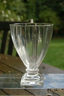 Late Georgian Ribbed Lead Crystal Rummer On Square Base • 20£