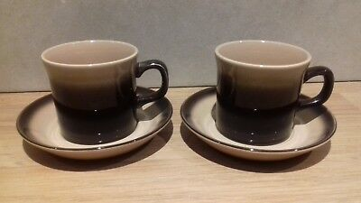 Excellent...wedgwood..monterey..small.. Cups And Saucers..wedgwood..dark Brown • 1.95£