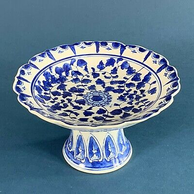 Blue And White Oriental Tazza Footed Dish • 7.50£
