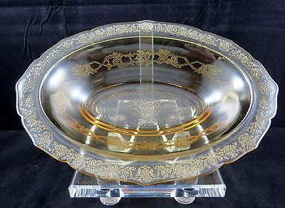 Federal Glass Normandie Amber Bouquet & Lattice Oval 10 1/2  Vegetable Bowl • 18.62£