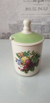 Vintage Wade Pottery Jam / Marmalade Pot Fruit Pattern With Green Lid  • 4£
