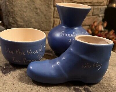 Blue And White Pottery X3 Devon, Snaefell, Whitby • 4.25£