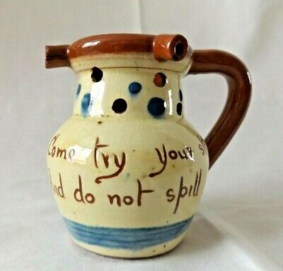 Small Scandy Aller Vale Motto Puzzle Jug - Come Try Your Skill And Do Not Spill • 5.99£