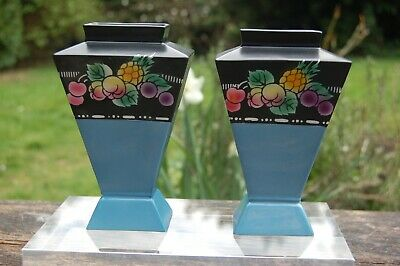1920s Shelley Porcelain Pair Of Vases 7778545/0 Fruit Pattern Border. • 25£