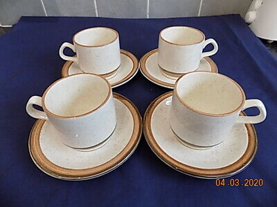Vintage Carrigaline Pottery County Cork Speckled Brown 2 X Cups & Saucers • 5.99£