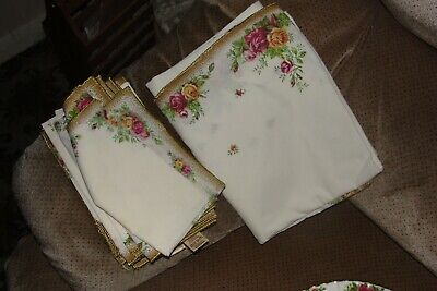 Vintage Royal Albert Old Country Roses Style Linen Napkins X 6 • 18£