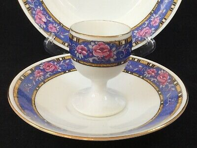 "SHELLEY ""Mandarin"" #11258 Art Deco Breakfast Trio - Egg Cup, Side Plate, Saucer • 39£"