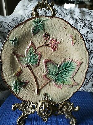 Beautiful Antique Majolica Plate ~ Leaf Flower And Butterfly Design • 30£