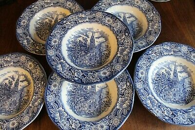Liberty Blue Old North Church Blue And White Soup Plate Bowls X 6 • 8£