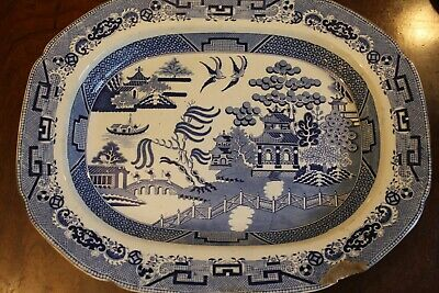 Antique Blue And White Willow Pattern Meat Platter • 8£
