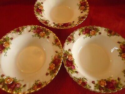 Royal Albert Old Country Roses **** 3 X RIMMED SOUP / PASTA BOWLS 1ST QUALITY ** • 22£