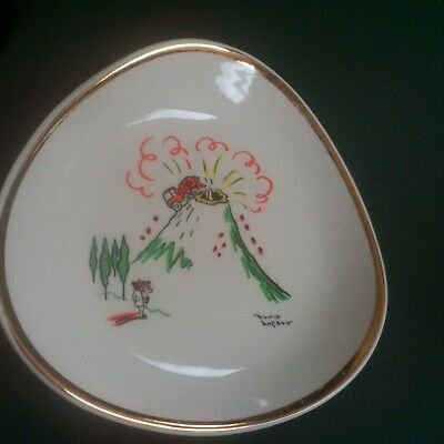 Wade Pin Dish David Langdon Cartoonist - RMC Cement Volcano ( Punch ) • 24.99£