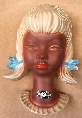 Vintage Jema Holland Pottery Head Wall Plaque - Rare - Original Label • 39£