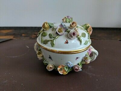 Lovely Antique Meissen Encrusted Porcelain Pot & Cover Hand-Painted Bugs Flies • 25£