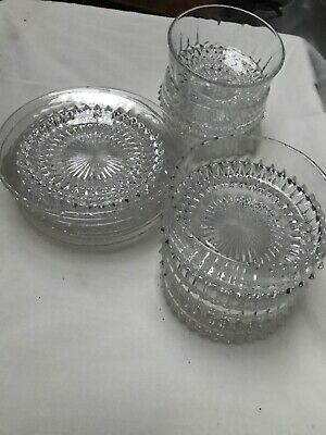 Crystal Style Dessert Plates And Bowls Dishes 6 • 2£