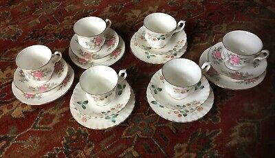 Mix And Match 6 Pink China Tea Cups, Saucers And Plates • 10£