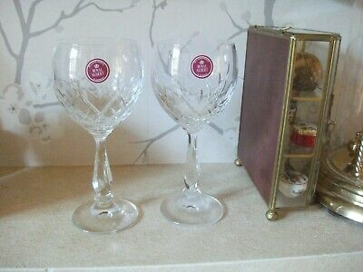 Royal Albert Crystal Cut Glass Victoria Cut ,2 Wine Glasses In Orig.box.ex 6  Hi • 9.99£