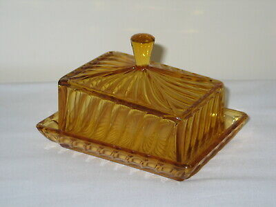 Vintage Amber Pressed Glass Butter Dish  • 10£