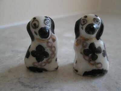 Quirky Miniature Pair Of Staffordshire Spaniel Dogs • 6.99£