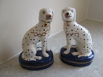 Staffordshire Dalmatian Dogs - Gold Chains / Cobalt  Blue Bases • 19.99£