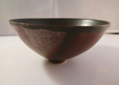 Japanese Or Chinese Raku Or Tenmoku Glaze Vintage Footed Tea Bowl Gd Condition  • 9.99£
