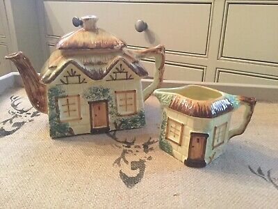 Keele Pottery, Thatched Cottage Teapot And Jug • 1.10£