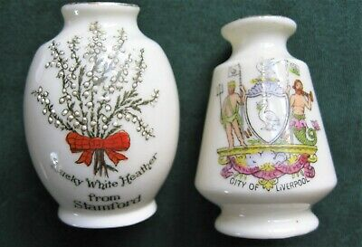 2 Arcadian Crested China Vases City Liverpool + Stamford Lucky Heather • 10£