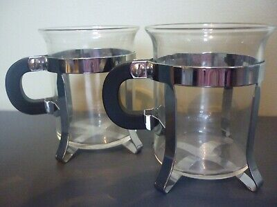 2 X Coffee  Glasses With Metal Holders • 3.99£