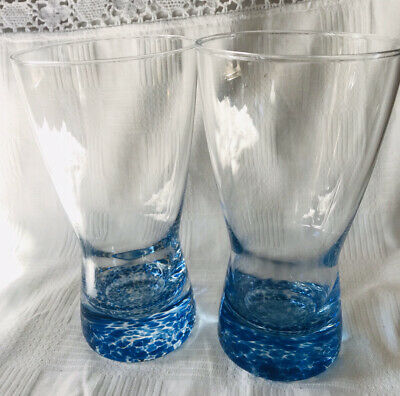 Pair Denby Blue Bottomed Glass Tumblers, Large, 17cm Tall • 24£