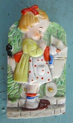 WALL POCKET  LITTLE GIRL WITH DOLL BUGGY JAPAN 1930's • 16.04£