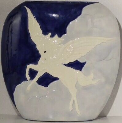 Pegasus Flying Through The Clouds Pottery Vase - Slim Width Decorative Vase • 5£
