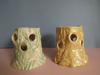 Pair Of Vintage Pottery Tree Trunk Planters • 20£