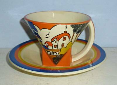 Superb Moorland Clarice Cliff Art Deco Huntley Cottage Cup & Saucer • 37.95£