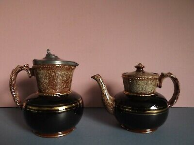 Vintage Brown Glazed Teapot & Hot Water / Coffee Pot With Pewter Lid • 15£