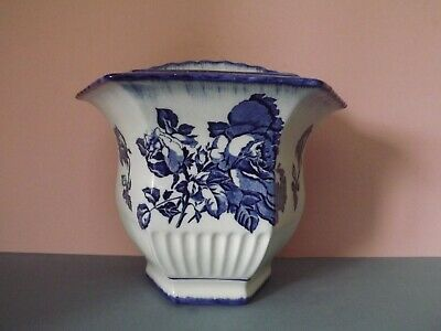 Vintage Victoria Ironstone Flow Blue Wall Pocket Vase • 18£