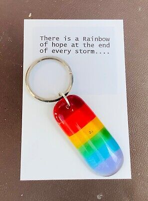 Fused Glass Rainbow Keyring 20% Donated To The NHS Charity • 7.50£