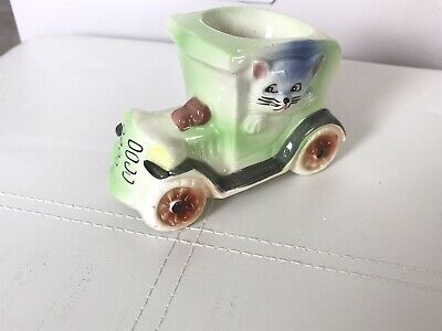 Quirky Japanese Eggcup (Dog And Cat In A Car) • 4.10£
