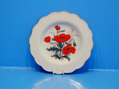 W.H.Goss Tea Plate Transfer Of Poppies Hand Painted • 14.99£