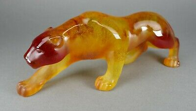 Fine French Daum Art Glass Pate De Verre Amber Crystal Panther Cat Sculpture • 163.99£