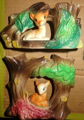 Withernsea  Eastgate Hornsea Fauna Deer  Bambi Pottery X 2  Vases   #57  #28 • 5£